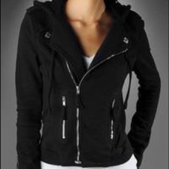 effbf2f84 True Religion Moto Hoodie black zip up jacket. M 581d40d7c6c79521ef00ed94