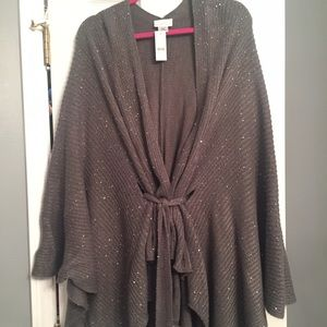 New York & Company Jackets & Blazers - NWT New York & Company Grey Sparkly Cape