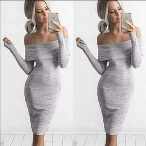 Hot sexy off shoulder marbled grey bodycon dress