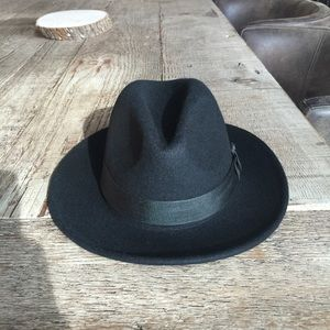 100% Wool Classic Black Wide Brim Fedora Hat S/M