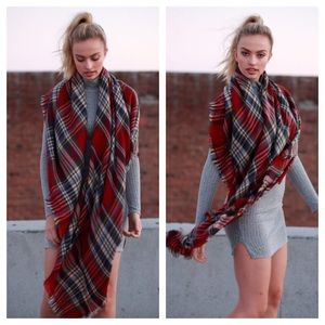 clmayfae Accessories - *LAST2* Red Plaid Blanket Scarf