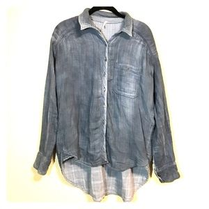 Distressed denim button down Free People top