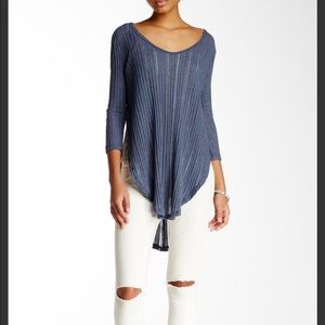 Free People Split Ribbed Tee