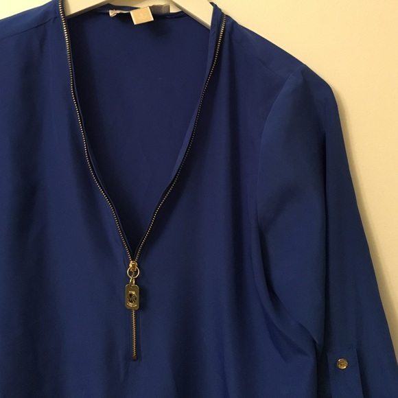 KORS Michael Kors Tops - Gorgeous Michael Kors Cobalt Zip Blouse