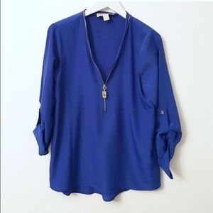 Gorgeous Michael Kors Cobalt Zip Blouse