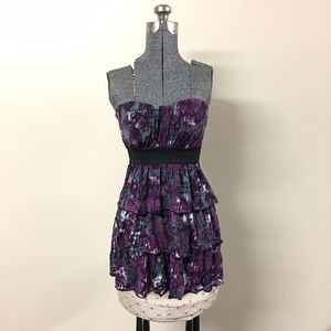 Purple & Black Tiered Strapless Top Small