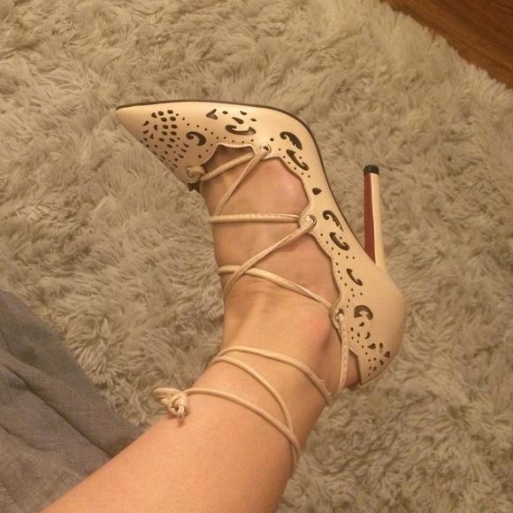 f4b821ee4553 JoJo Cat Shoes - Tan Nude Beige red bottom heels w  cutout design