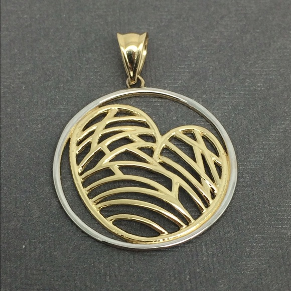 jewelry 14k twotone gold heart inside a circle pendant poshmark