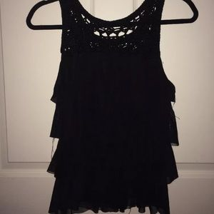 Forever 21 Black Tier Sheer Ruffle Tank Size Xs