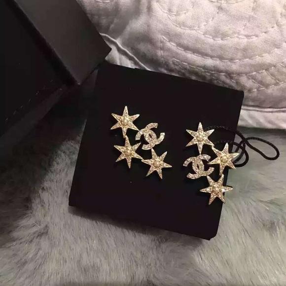 chanel logo earrings. chanel jewelry - chanel 2015 cc logo star rhinestone earrings gold g