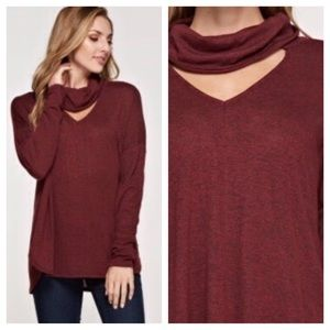 Tops - NWT Burgundy Flowy Loose Cowl Neck Top