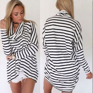 Comfy stripped high neck long sleeve top  017