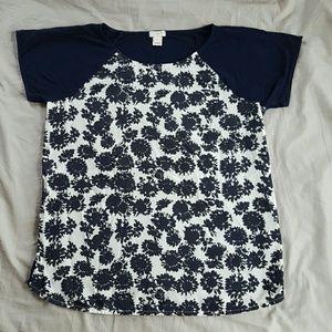 J. Crew navy blue patterned t-shirt size S