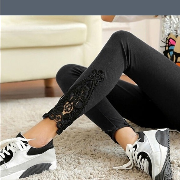 ff05e7c189f88d Pants | Crochet Bottom Sexy Black Lace Leggings New S | Poshmark