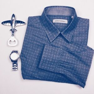 James Campbell Other - James Campbell Blue Dotted Dress Shirt