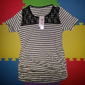 Planet Motherhood Tops - NWT Black and cream striped maternity shirt