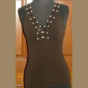 Ann Taylor Tops - Ann Taylor brown knit sleeveless blouse XXSP