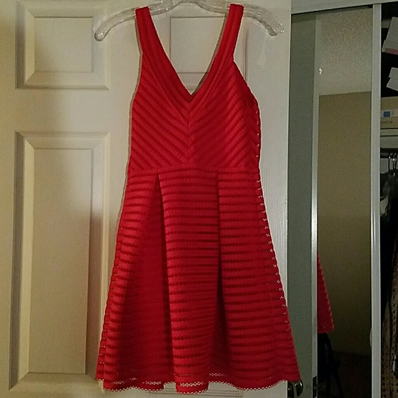 Express Dresses & Skirts - Express red mesh fit and flare dress sz 2