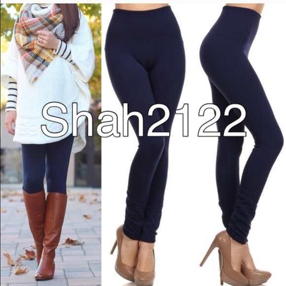 Navy blue fleece lined leggings One Size sold from ! aye's closet ...