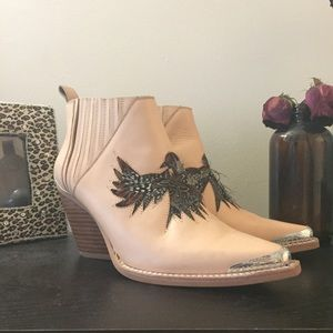 Jeffrey Campbell tan leather booties