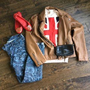 Faux leather jacket s cognac brown forever 21