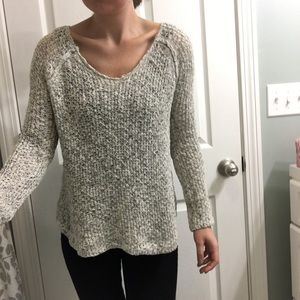 Cozy cream sweater with lace back