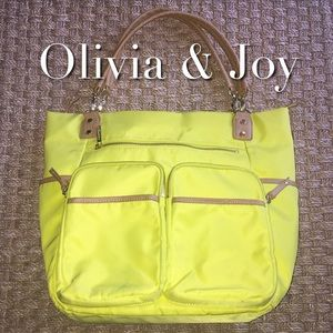 Olivia + Joy Handbags - Olivia & Joy Neon Yellow Large Bag Gold Hardware