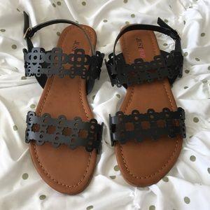 New black lace straps justfab flat sandals 6.5
