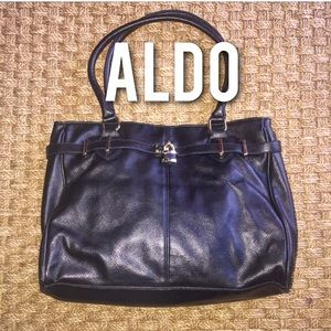 Aldo Handbags - Aldo Black Leather Pebble Tote Purse Gold Hardware