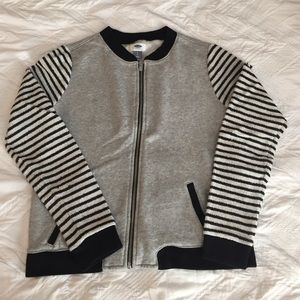 Old Navy Tops - Striped-Sleeves Zipper Up