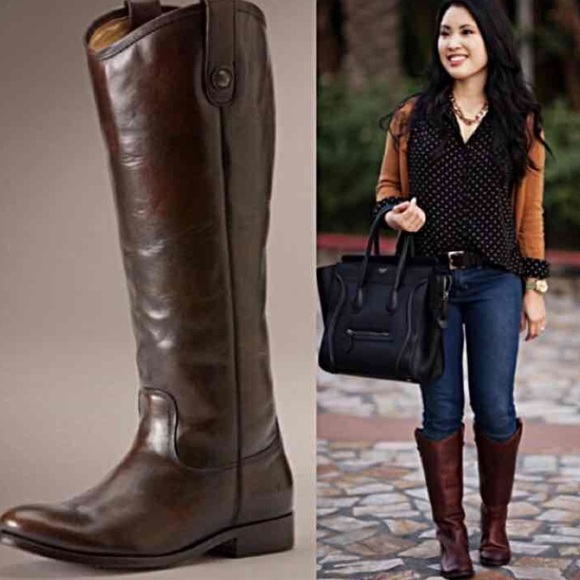 Frye Shoes Melissa Button Brown Rustic Riding Boot