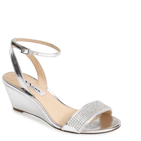 Nina New York Noely Silver Wedge Sandal