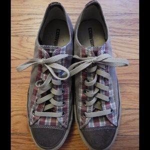 Converse Other - Converse Low Top Tan and Plaid Sneakers Sz 8 Men