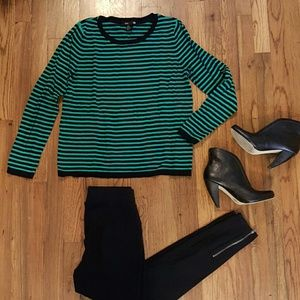 H&M Sweaters - H&M Green & Black Striped Pullover Sweater
