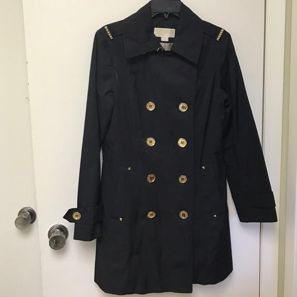 MICHAEL Michael Kors - MICHAEL KORS black trench coat with gold ...