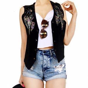 Vintage Jackets & Blazers - Vintage leather sequin vest