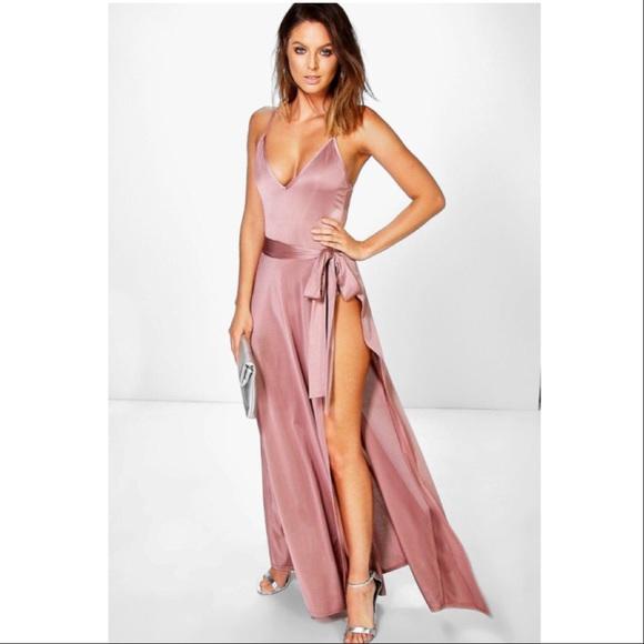 690093e805a Bodysuit high side slit skirt dress set blush s