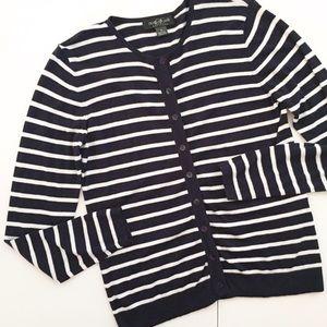 august silk Sweaters - August Silk Navy Blue & White Stripe Cardigan - M