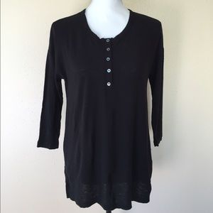 James Perse Tops - NWT James Perse Henley Black Knit Top Size 1