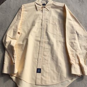 Yellow dress shirt with khakis by gap