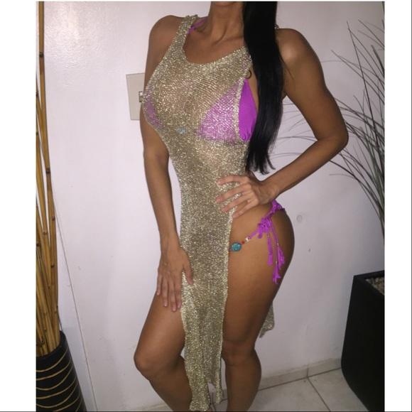 2af72cd145 Beach Bunny Swim | Sale Mesh Bikini Cover Up Slit Maxi Dress Gold S ...