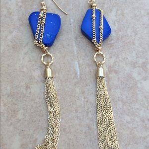 Gold Tone Blue Stone Tassel Drop Earrings