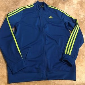 Adidas track jacket blue and lime green