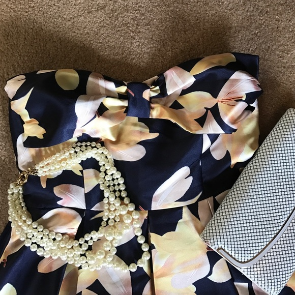 Dresses - BNWT Navy and Yellow Strapless Party Dress