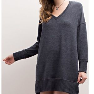 06425eaae62dc  Coming Soon Charcoal blue Sweater Dress