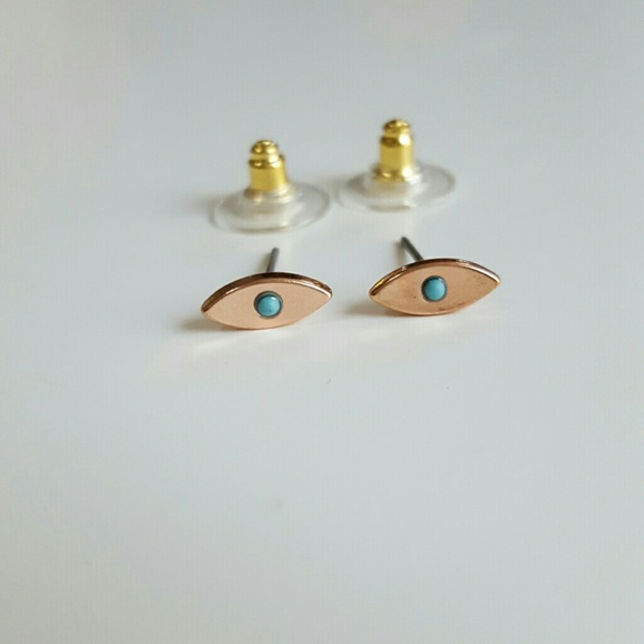Jewelry - Blue Eyed Rose Gold Earrings