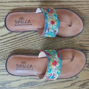 Sbicca Shoes - Sbicca Handmade Embroidered Leather Sandals Boho
