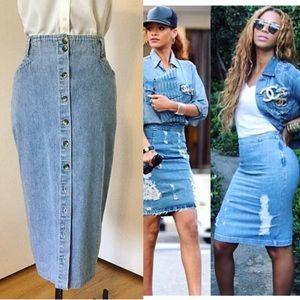 Vintage Dresses & Skirts - Denim Pencil Skirt