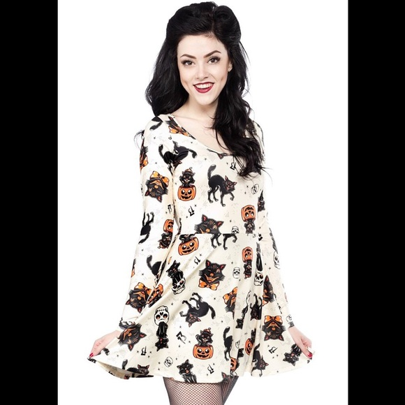 945d9b461e Sourpuss Black Cats Skater Dress Cream L Halloween.  M 581e5221bf6df523bd04112e