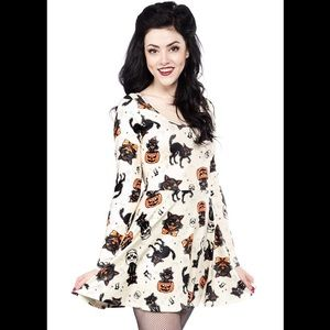 Sourpuss Dresses & Skirts - Sourpuss Black Cats Skater Dress Cream L Halloween